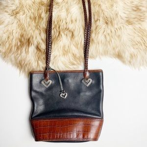 Brighton Leather Shoulder Bag Faux Croc Heart